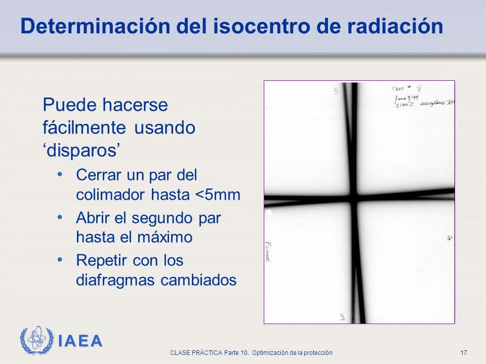 Determinación del isocentro de radiación