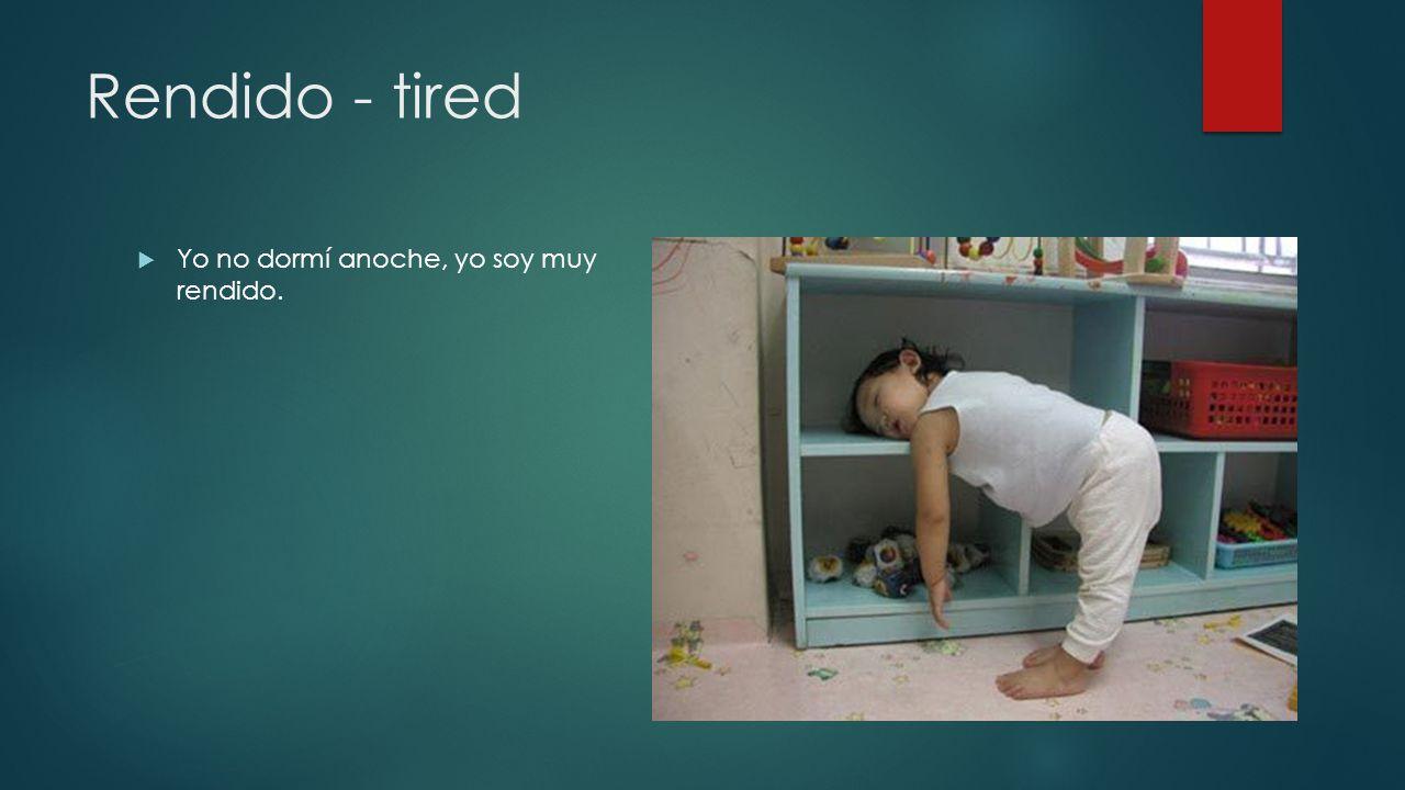 Rendido - tired Yo no dormí anoche, yo soy muy rendido.
