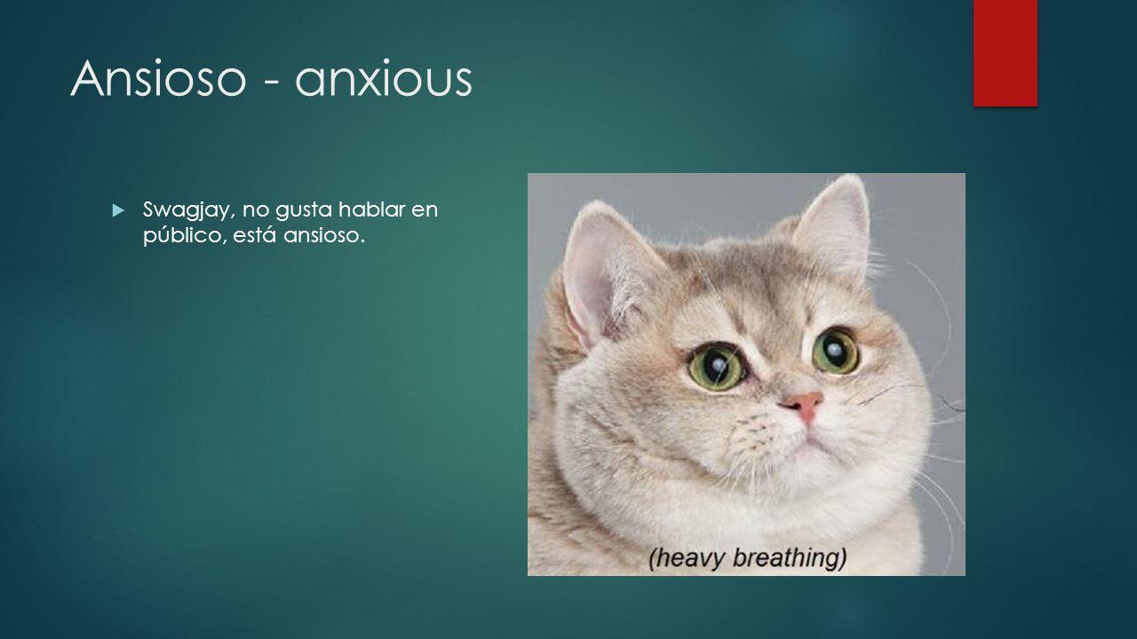 Ansioso - anxious Swagjay, no gusta hablar en público, está ansioso.