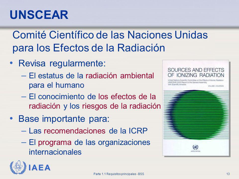 UNSCEAR Comité Científico de las Naciones Unidas para los Efectos de la Radiación. Revisa regularmente: