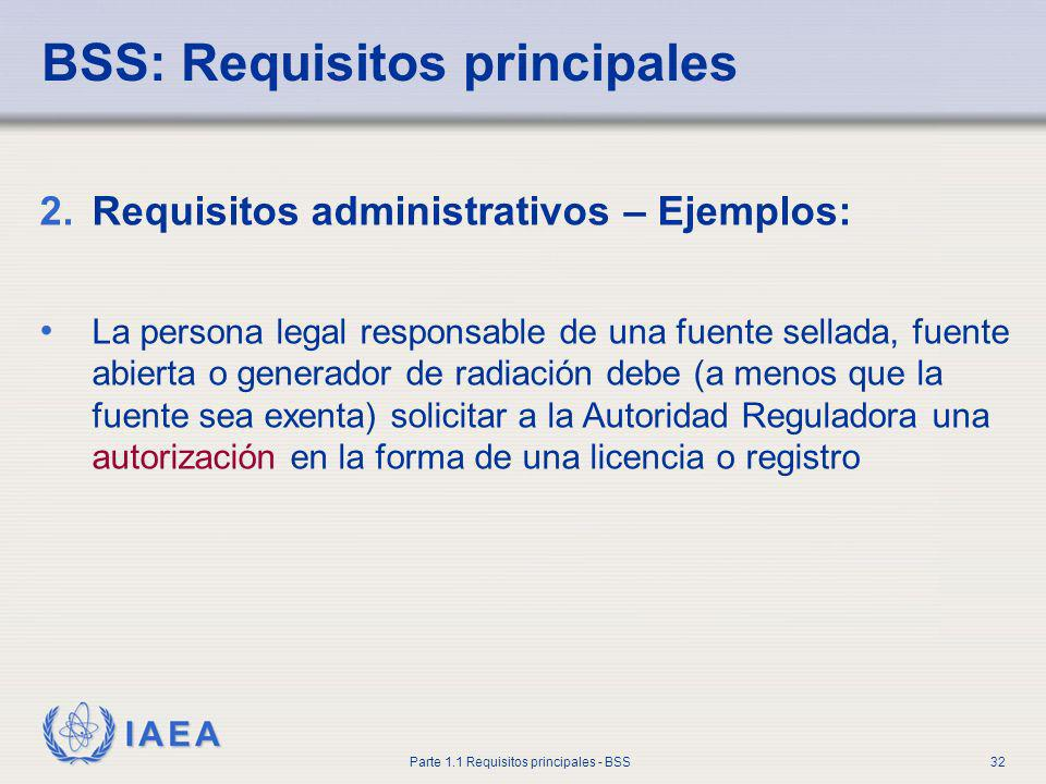 BSS: Requisitos principales