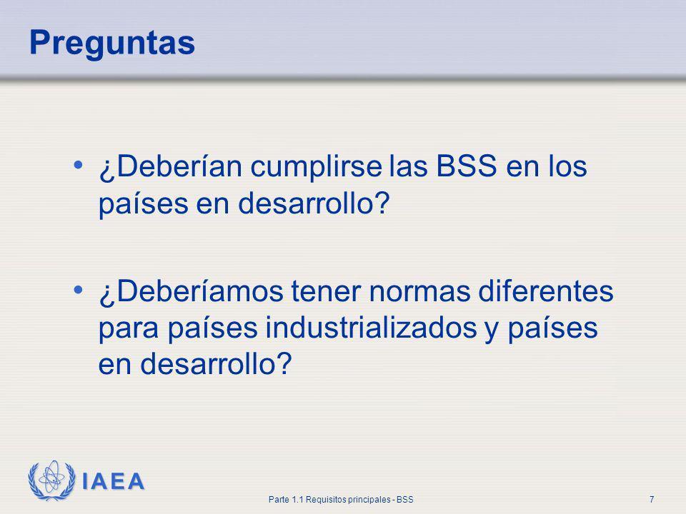 Preguntas ¿Deberían cumplirse las BSS en los países en desarrollo