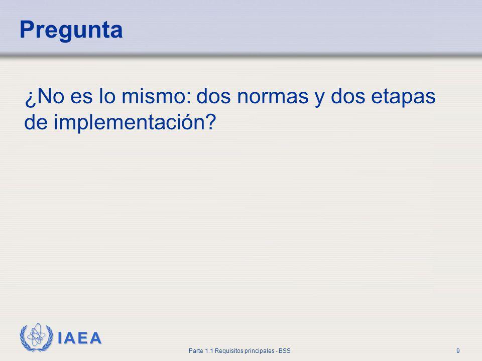 Pregunta ¿No es lo mismo: dos normas y dos etapas de implementación