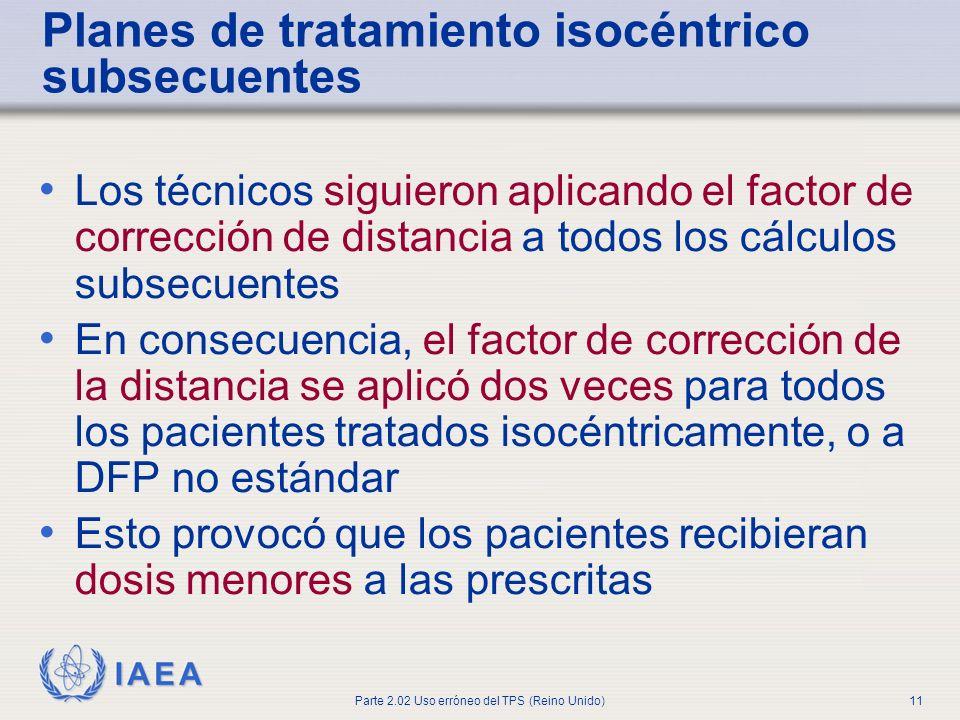 Planes de tratamiento isocéntrico subsecuentes