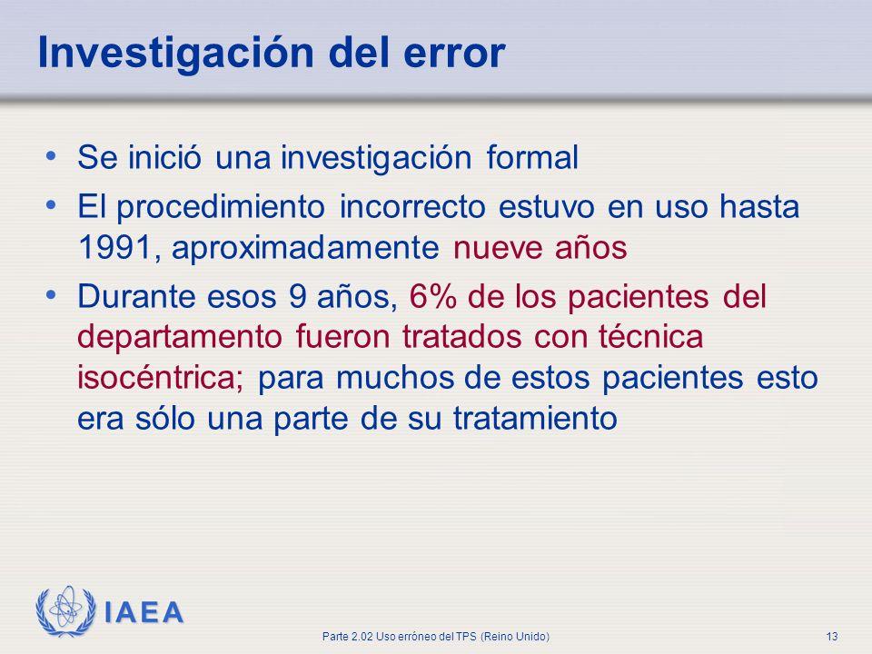 Investigación del error