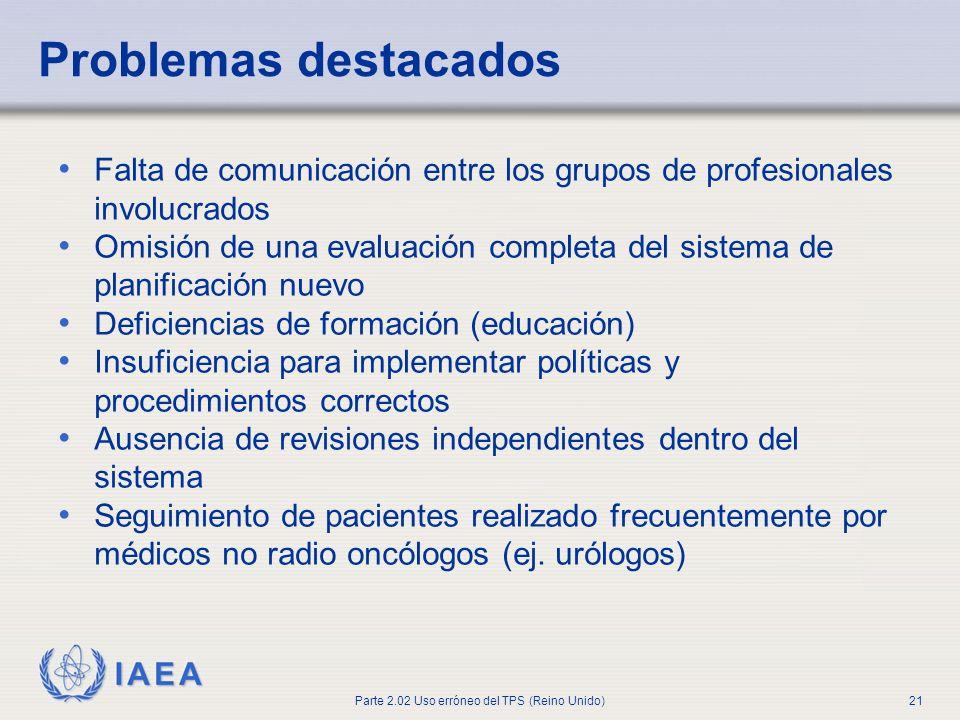 Problemas destacadosFalta de comunicación entre los grupos de profesionales involucrados.