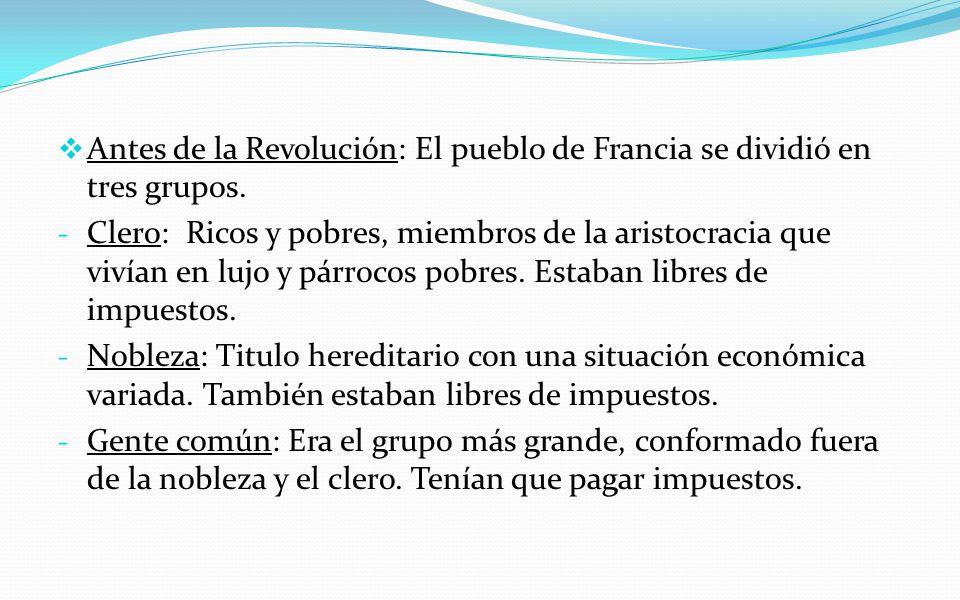 Antes de la Revolución: El pueblo de Francia se dividió en tres grupos.