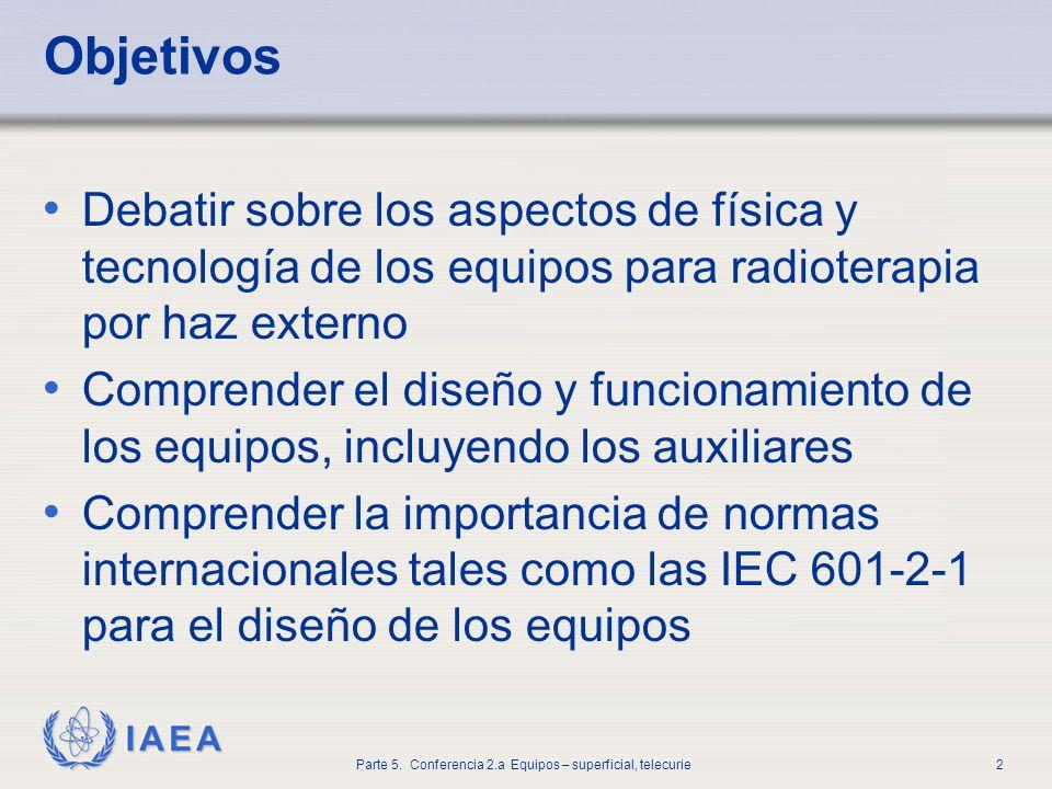 Objetivos Debatir sobre los aspectos de física y tecnología de los equipos para radioterapia por haz externo.