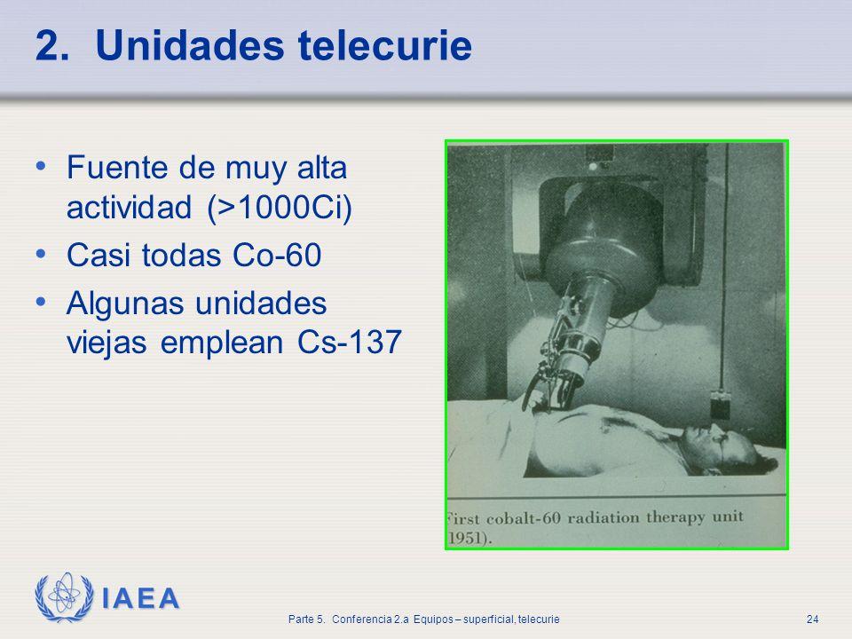 2. Unidades telecurie Fuente de muy alta actividad (>1000Ci)