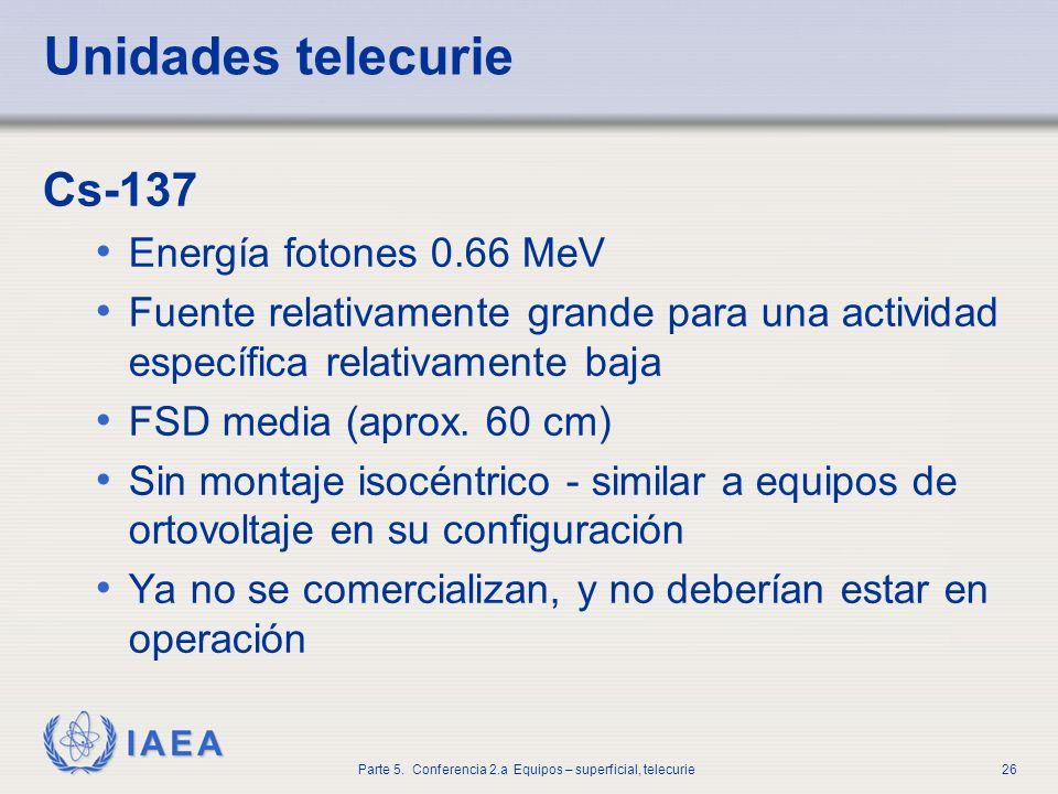 Unidades telecurie Cs-137 Energía fotones 0.66 MeV