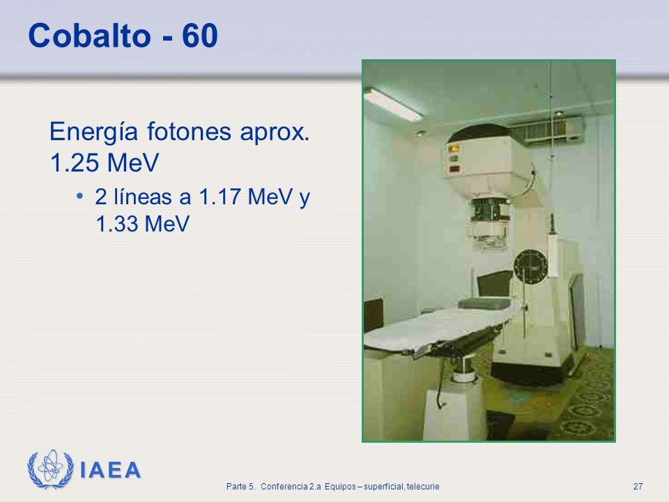 Cobalto - 60 Energía fotones aprox. 1.25 MeV