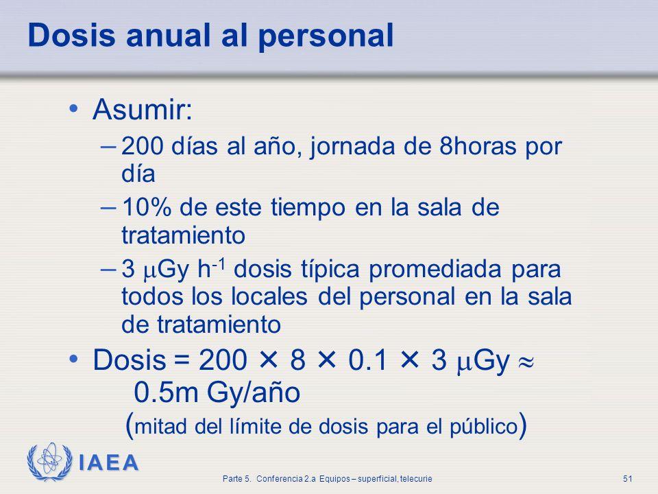 Dosis anual al personal