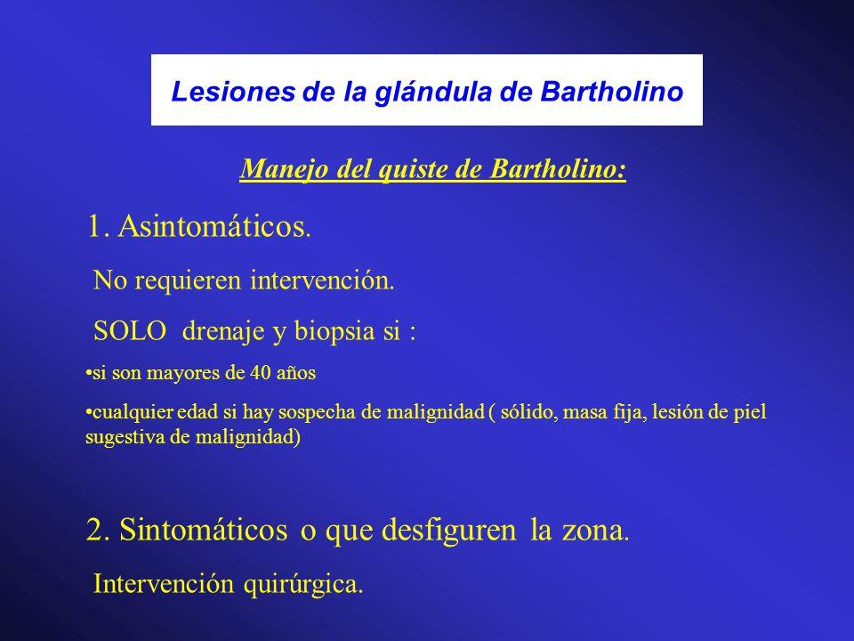 Lesiones de la glándula de Bartholino Manejo del quiste de Bartholino: