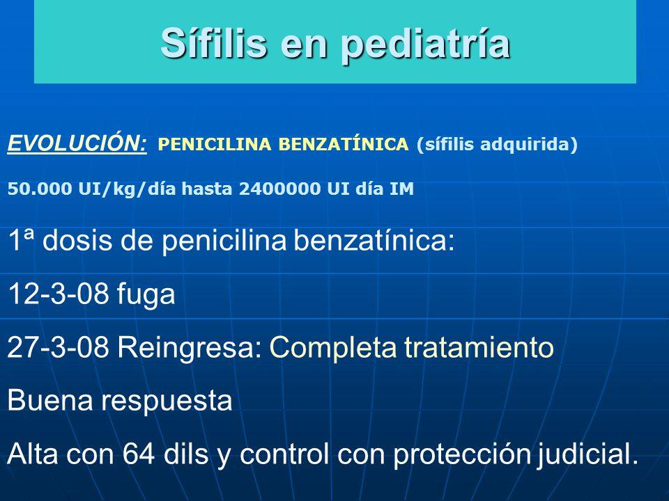 Sífilis en pediatría 1ª dosis de penicilina benzatínica: 12-3-08 fuga