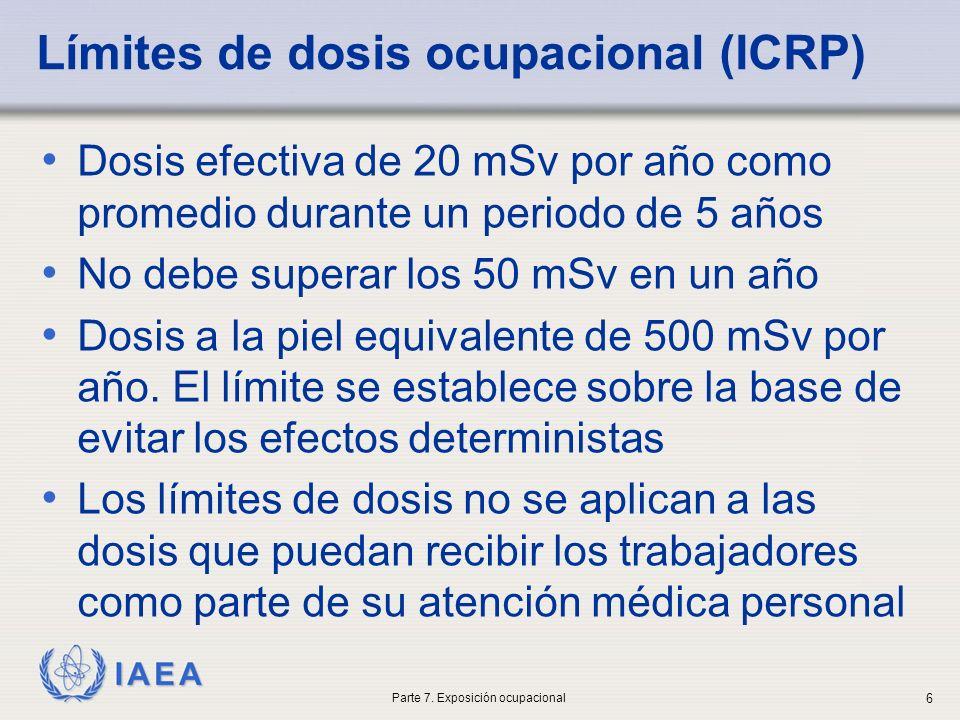 Límites de dosis ocupacional (ICRP)