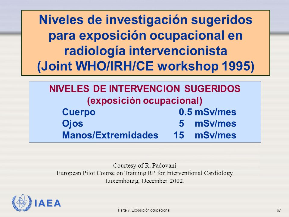 (Joint WHO/IRH/CE workshop 1995) NIVELES DE INTERVENCION SUGERIDOS