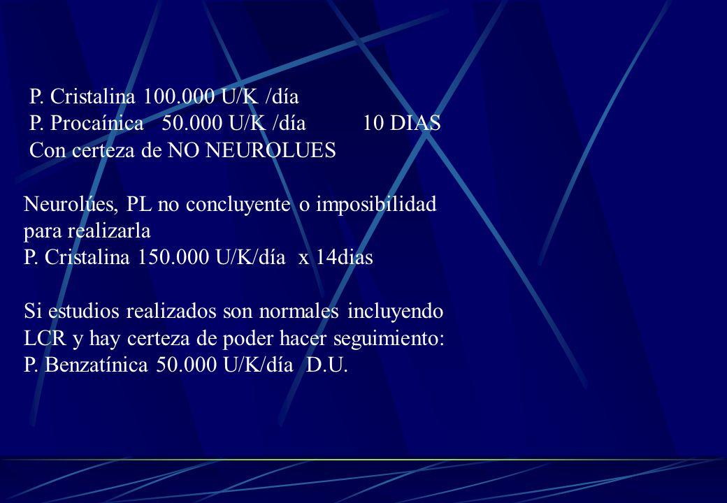 P. Cristalina 100.000 U/K /día P. Procaínica 50.000 U/K /día 10 DIAS. Con certeza de NO NEUROLUES.