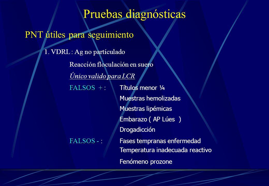 Pruebas diagnósticas PNT útiles para seguimiento