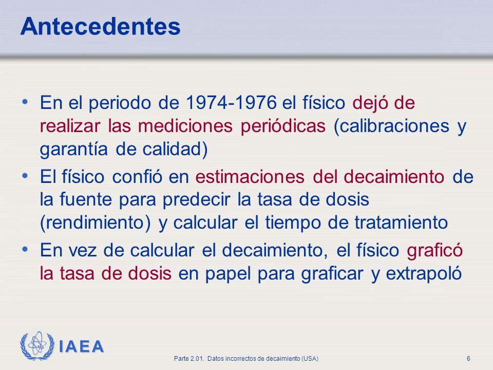 Antecedentes En el periodo de 1974-1976 el físico dejó de realizar las mediciones periódicas (calibraciones y garantía de calidad)