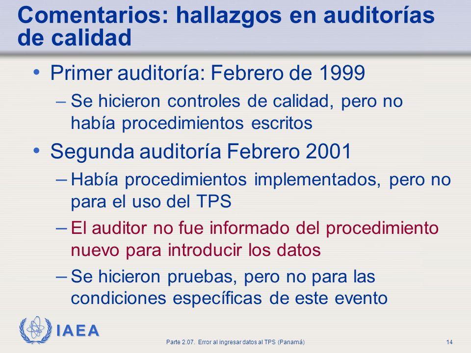 Comentarios: hallazgos en auditorías de calidad