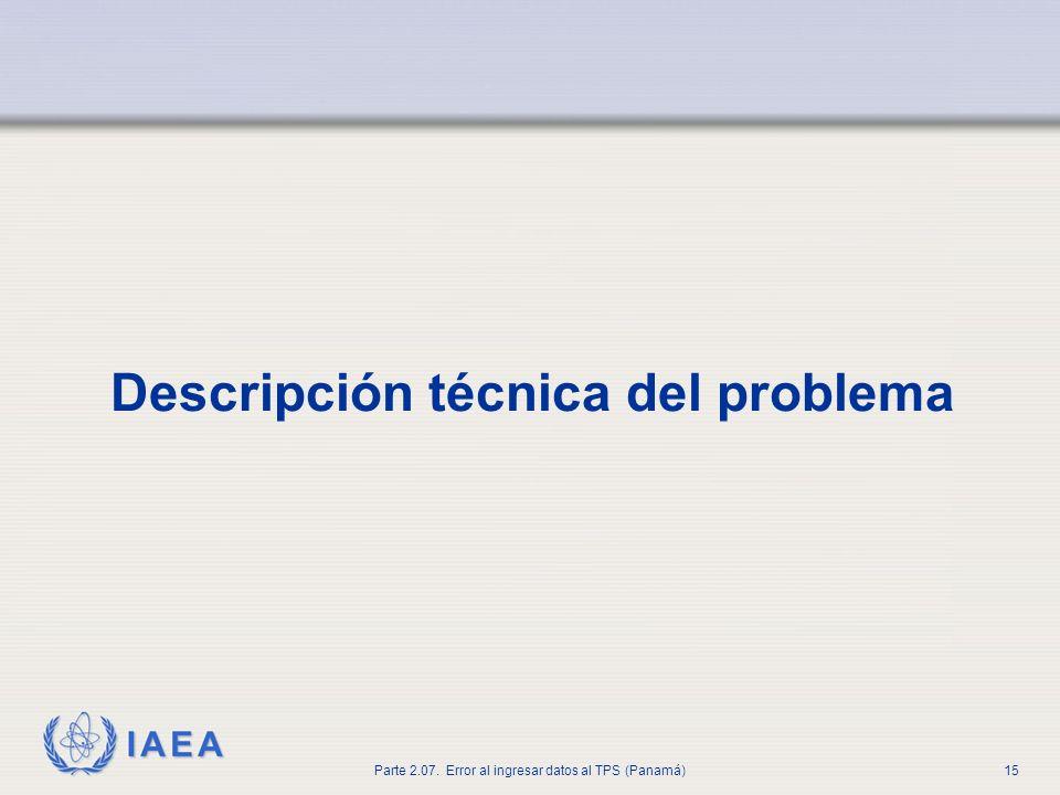 Descripción técnica del problema