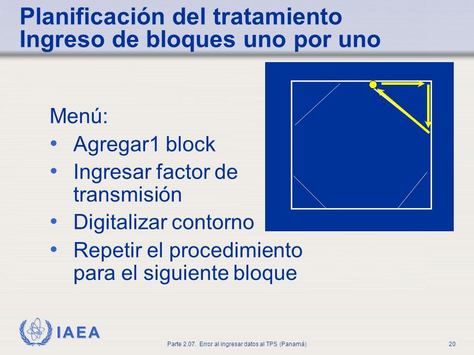 Planificación del tratamiento Ingreso de bloques uno por uno