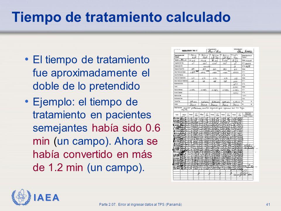 Tiempo de tratamiento calculado