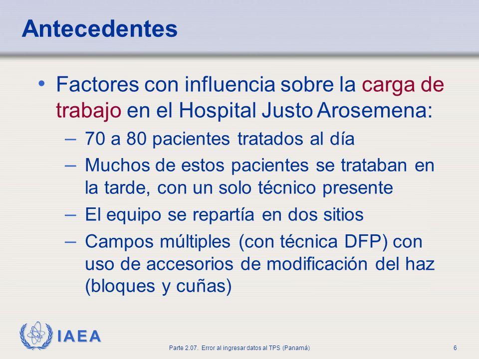Antecedentes Factores con influencia sobre la carga de trabajo en el Hospital Justo Arosemena: 70 a 80 pacientes tratados al día.