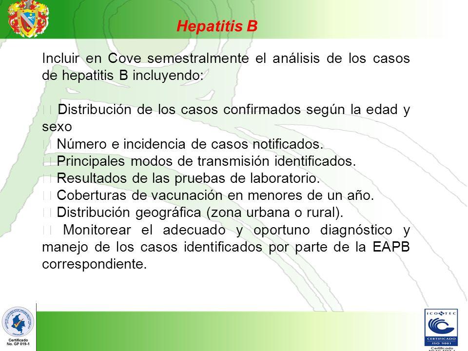 Hepatitis B Incluir en Cove semestralmente el análisis de los casos de hepatitis B incluyendo: