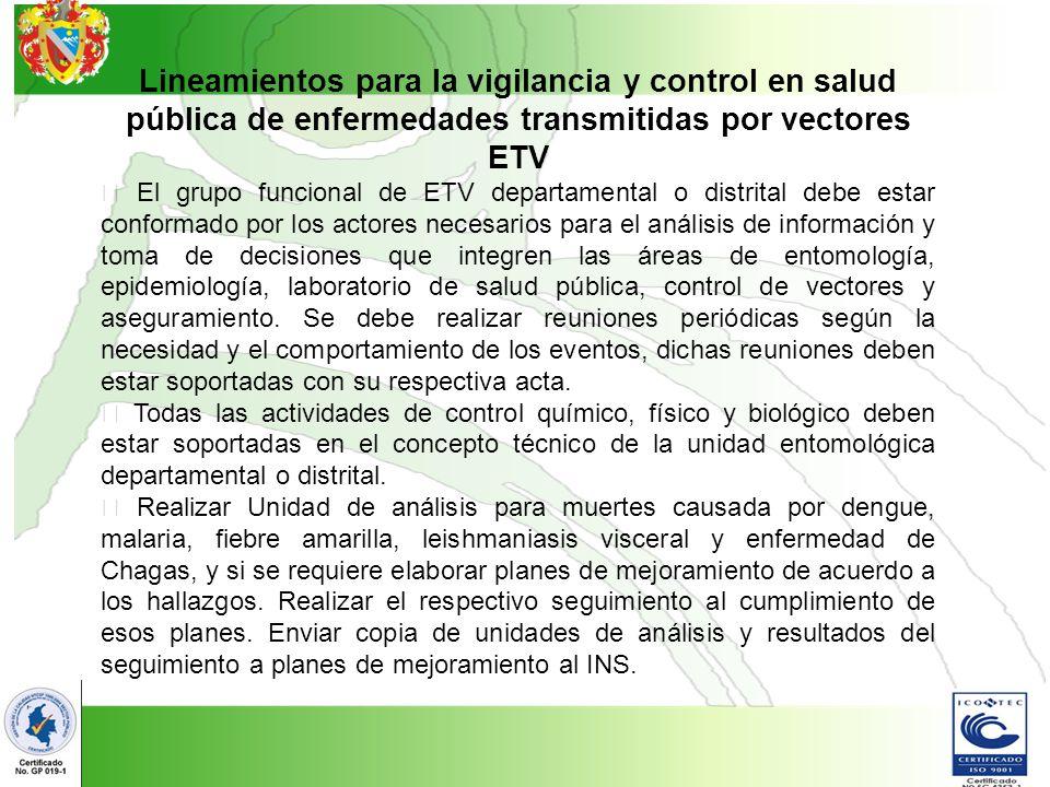 Lineamientos para la vigilancia y control en salud pública de enfermedades transmitidas por vectores ETV