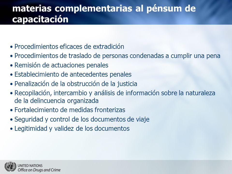 materias complementarias al pénsum de capacitación