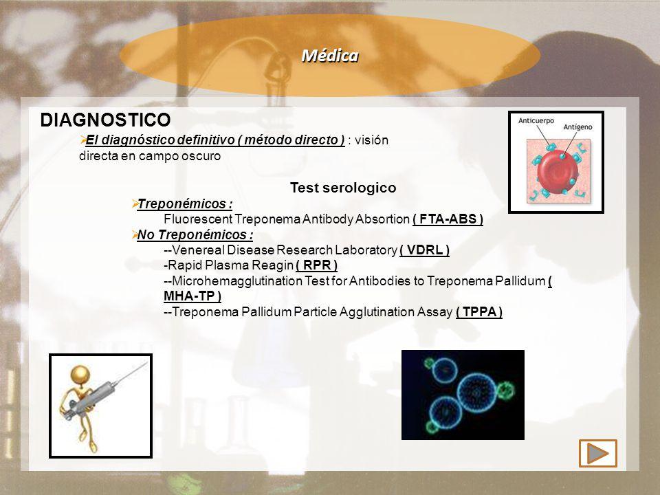 Médica DIAGNOSTICO Test serologico