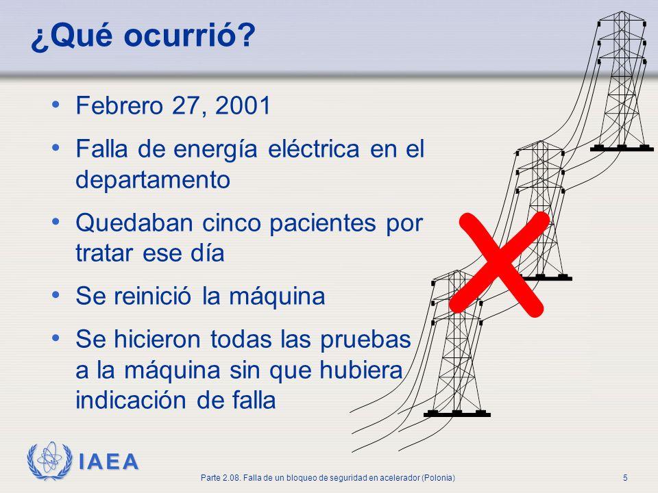 ¿Qué ocurrió x. Febrero 27, 2001. Falla de energía eléctrica en el departamento. Quedaban cinco pacientes por tratar ese día.