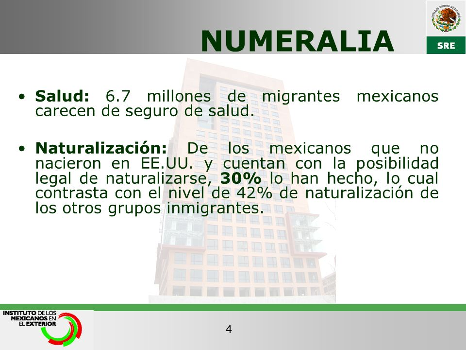 NUMERALIA Salud: 6.7 millones de migrantes mexicanos carecen de seguro de salud.