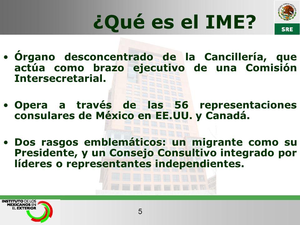 ¿Qué es el IME Órgano desconcentrado de la Cancillería, que actúa como brazo ejecutivo de una Comisión Intersecretarial.