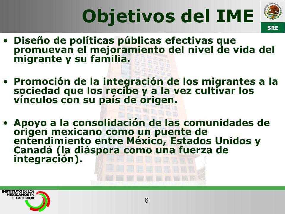 Objetivos del IME Diseño de políticas públicas efectivas que promuevan el mejoramiento del nivel de vida del migrante y su familia.