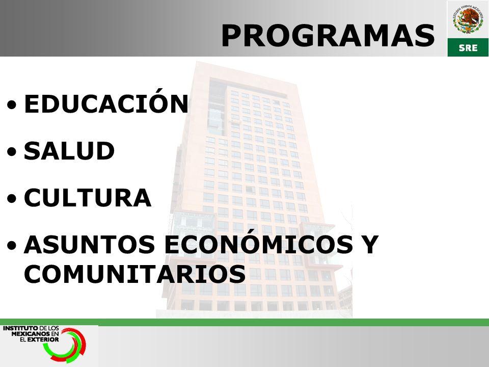PROGRAMAS EDUCACIÓN SALUD CULTURA ASUNTOS ECONÓMICOS Y COMUNITARIOS