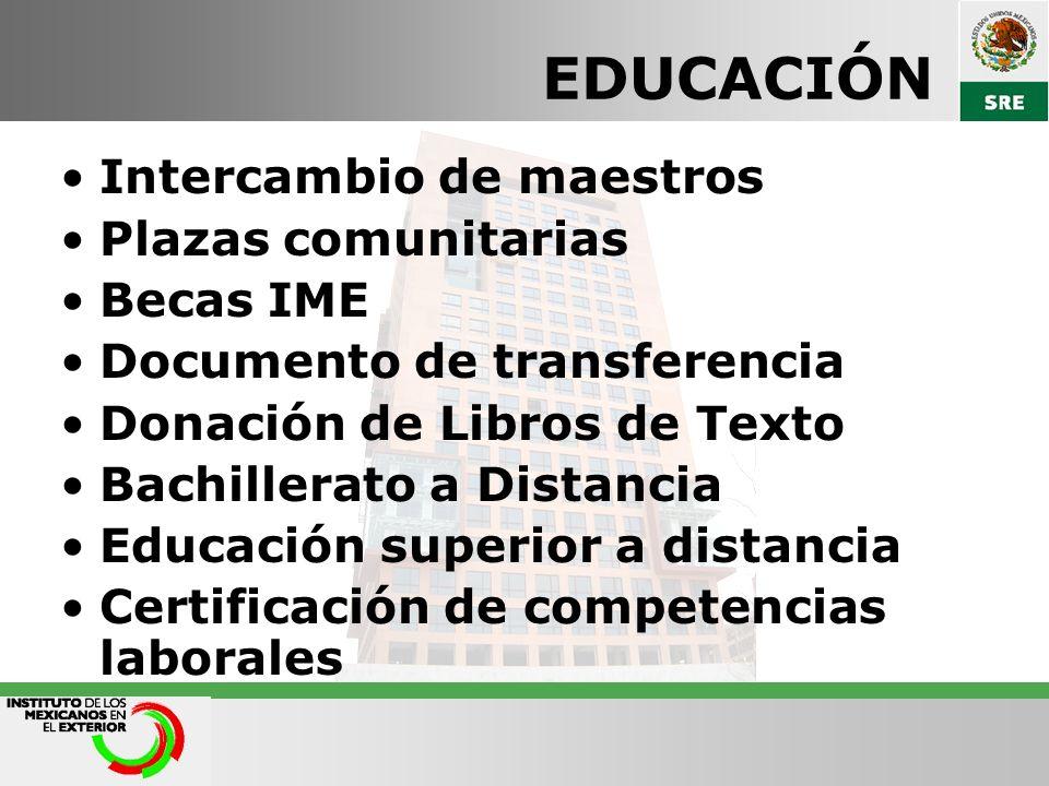 EDUCACIÓN Intercambio de maestros Plazas comunitarias Becas IME