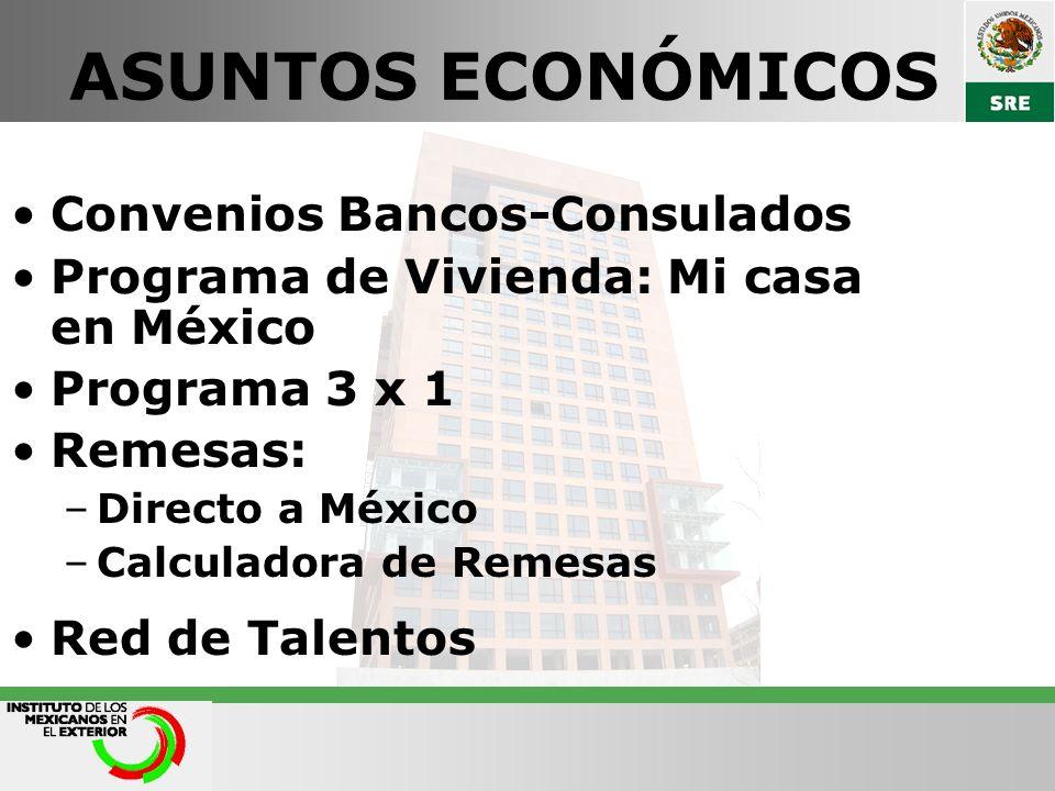 ASUNTOS ECONÓMICOS Convenios Bancos-Consulados