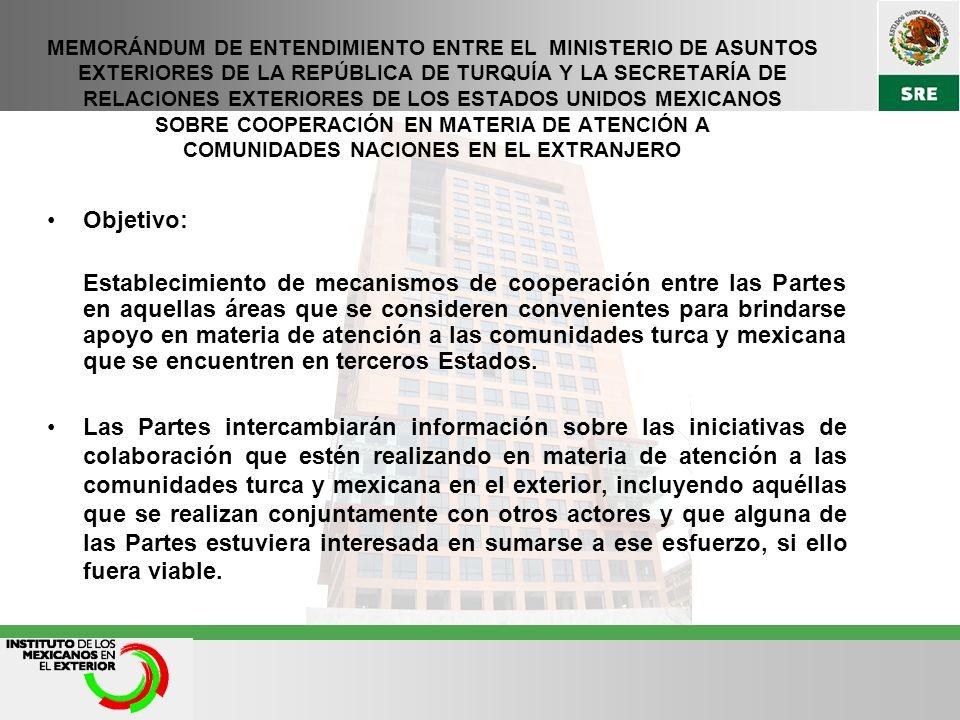 MEMORÁNDUM DE ENTENDIMIENTO ENTRE EL MINISTERIO DE ASUNTOS EXTERIORES DE LA REPÚBLICA DE TURQUÍA Y LA SECRETARÍA DE RELACIONES EXTERIORES DE LOS ESTADOS UNIDOS MEXICANOS SOBRE COOPERACIÓN EN MATERIA DE ATENCIÓN A COMUNIDADES NACIONES EN EL EXTRANJERO