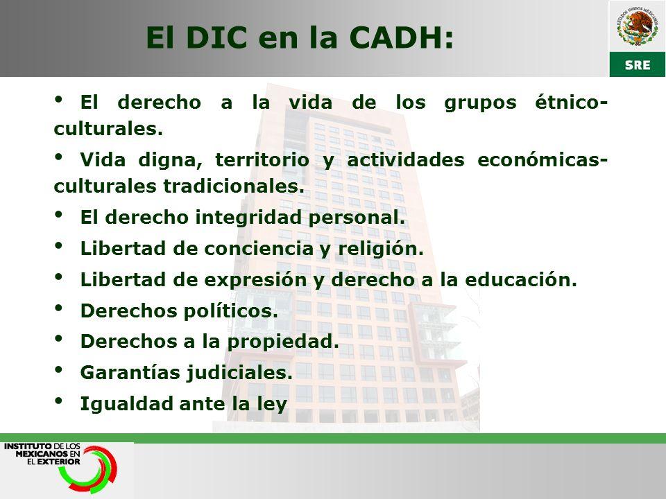 El DIC en la CADH: El derecho a la vida de los grupos étnico- culturales.