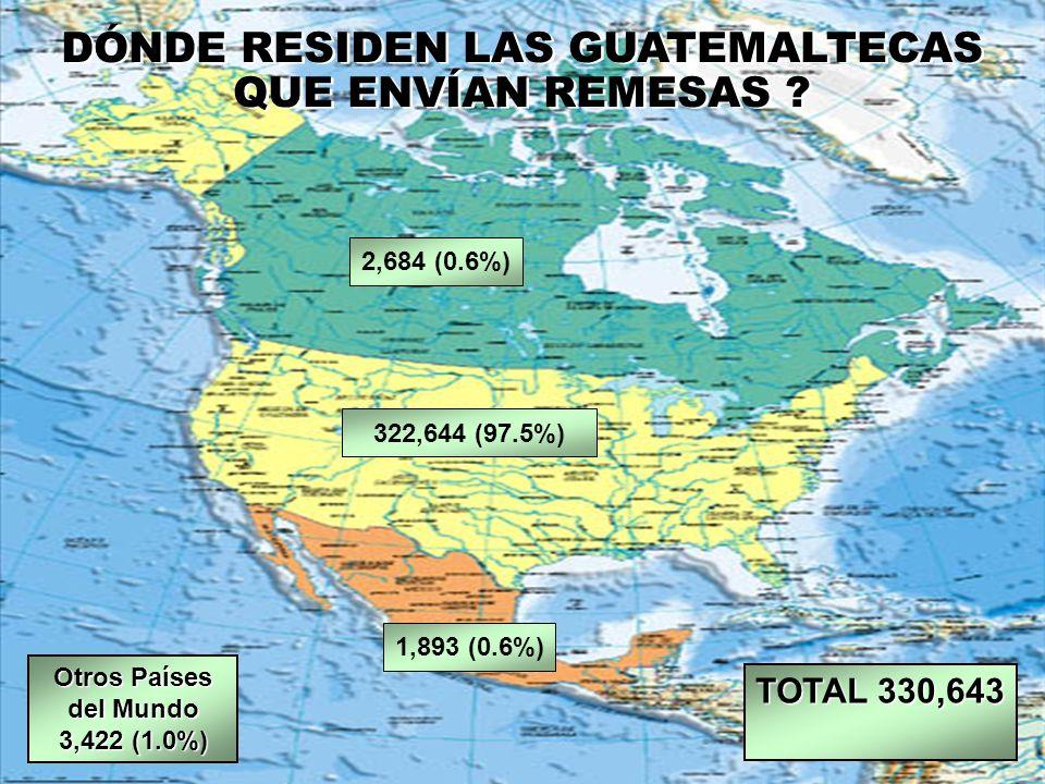 DÓNDE RESIDEN LAS GUATEMALTECAS QUE ENVÍAN REMESAS