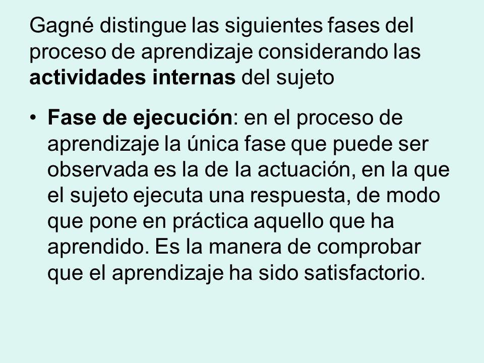 Gagné distingue las siguientes fases del proceso de aprendizaje considerando las actividades internas del sujeto