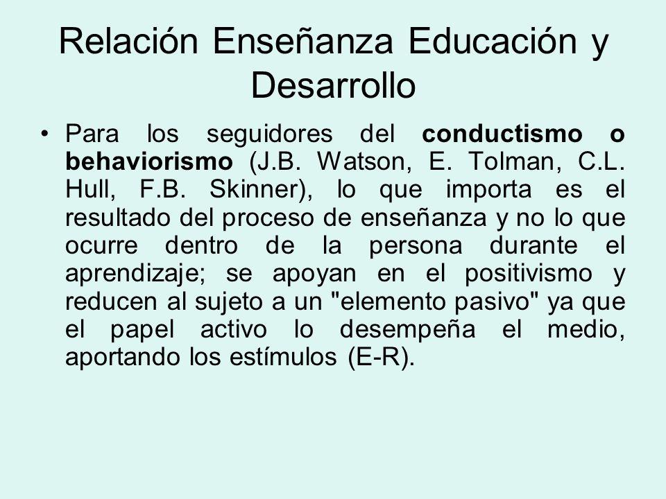 Relación Enseñanza Educación y Desarrollo