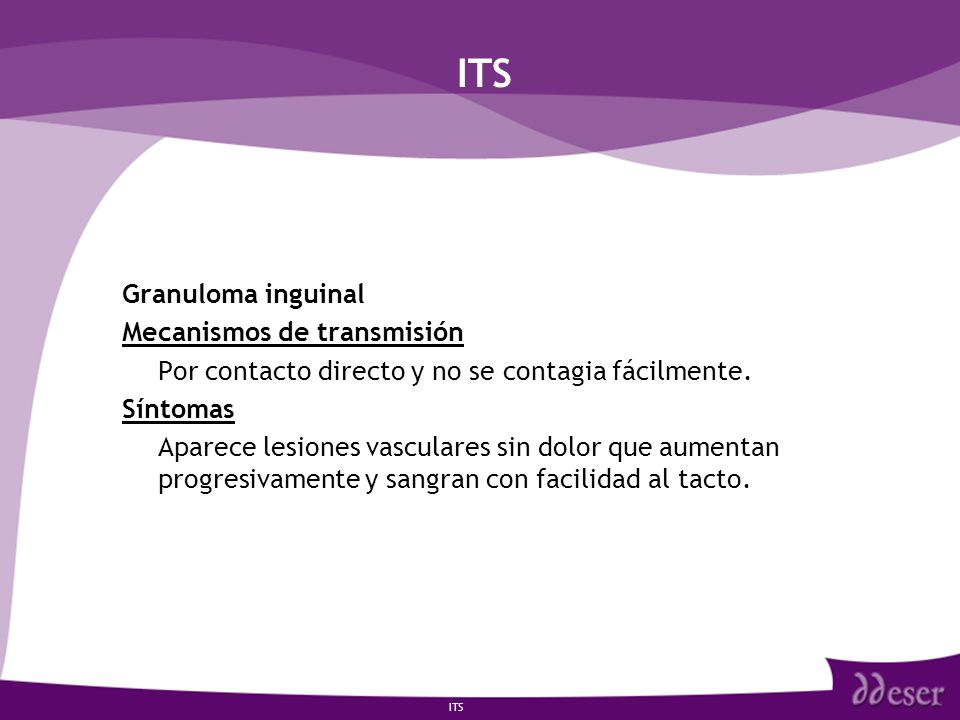 ITS Granuloma inguinal Mecanismos de transmisión