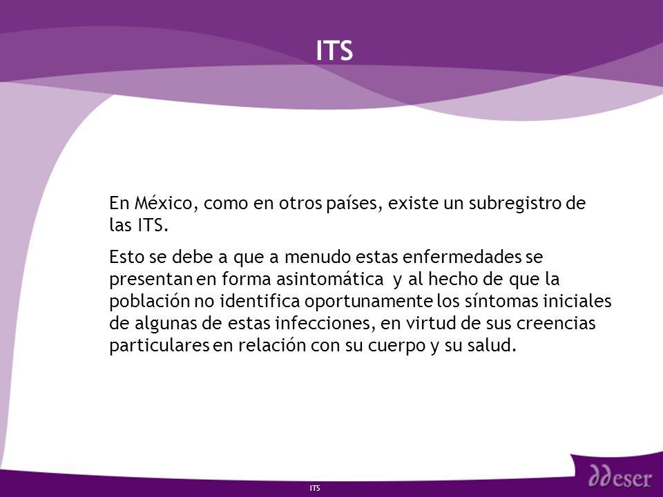 ITS En México, como en otros países, existe un subregistro de las ITS.