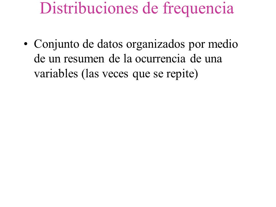 Distribuciones de frequencia