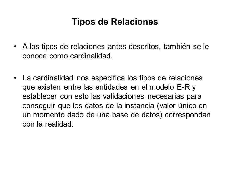 Tipos de Relaciones A los tipos de relaciones antes descritos, también se le conoce como cardinalidad.