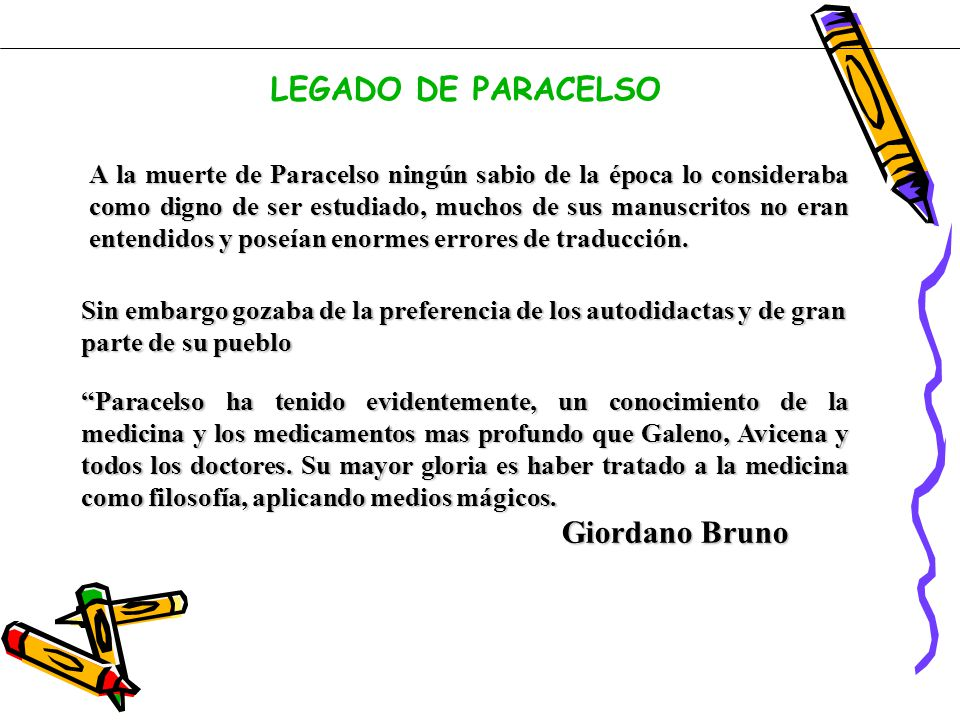 LEGADO DE PARACELSO Giordano Bruno