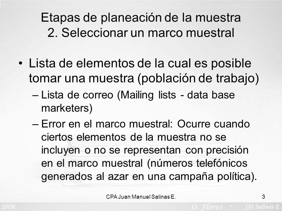 Etapas de planeación de la muestra 2. Seleccionar un marco muestral